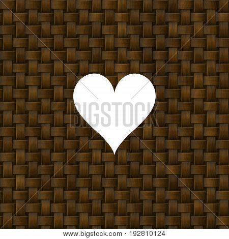 Brown dark knit rural rustic heart texture background