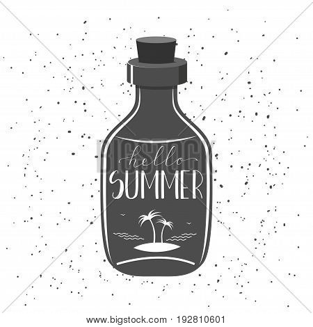 Typography grunge poster with glass bottle and hand drawn quote