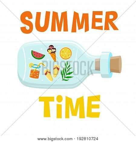 Typography poster with glass bottle with summer stickers inside and quote