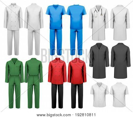 Set of white and colorful work clothes. Design template. Vector illustration.