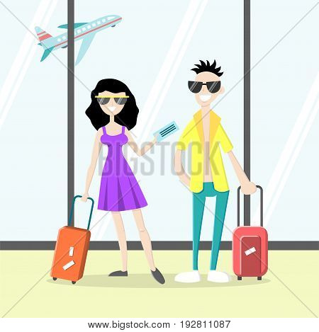 Happy attractive couple in airport. Smiling man with luggage and a girl holding tickets. Vector illustration. Cartoon style. Flat character. Isolated background.