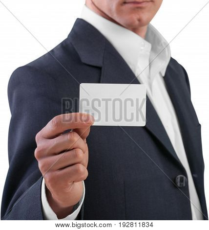 Business man card businessman show white background
