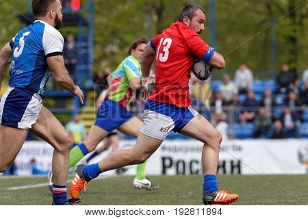 ST. PETERSBURG, RUSSIA - MAY 27, 2017: Match Mediterranee XV, France (red shirts) vs youth team of St. Petersburg during Rugby Europe Sevens Club Champion's Trophy.