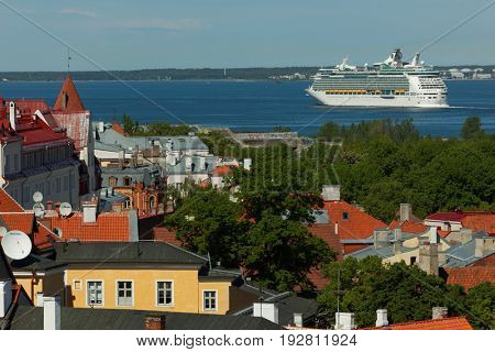 TALLINN, ESTONIA - JUNE 10, 2017: Cruise liner Navigator Of The Seas departs from the port. The ship owned by Royal Caribbean Cruises Ltd. was built in 2002 as the world largest nautical vessel