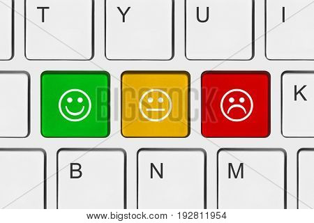 Computer keyboard with smile keys - technology concept