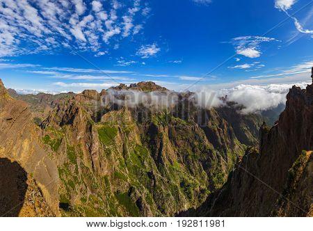 Pico do Arierio and Pico Ruivo - Madeira Portugal - travel background