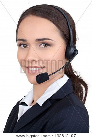 Young woman headphones global network background close-up beautiful