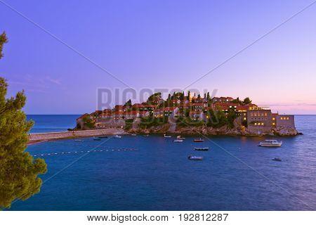Island Sveti Stefan - Montenegro - architecture and nature background