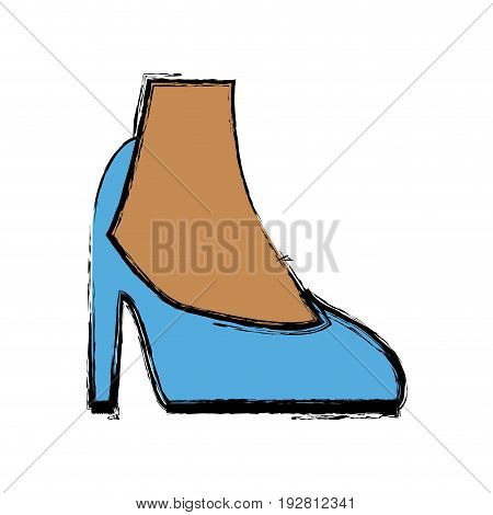 female feet in high heel blue classic stiletto shoes vector illustration