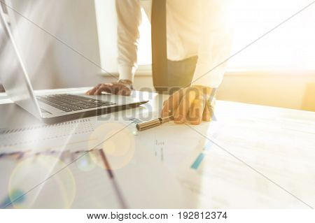 Computer business man working work businessman project