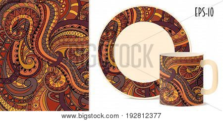 Hand drawn geometric aztec pattern in zen style for decorate kitchenware cup dishes porcelain stationery. Mock-up of mug and saucer. eps 10.