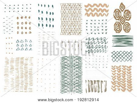 Vector hand drawn textures. Hipster grunge drawings. Stripes, brushes, spots, blots, flowers and leaves. Brushstrokes. Boho prints. Ikat isolated elements.
