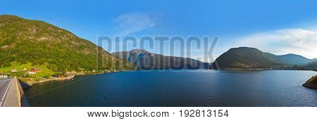 Fjord Sogndal in Norway - nature and travel background
