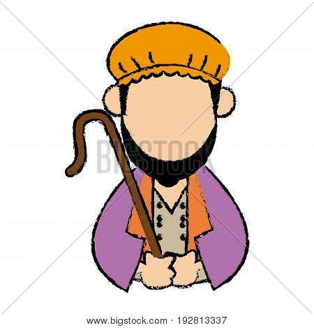 cartoon shepherd holding stick with tunic and turban vector illustration