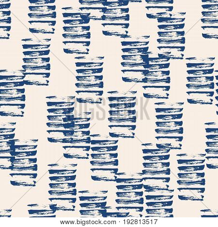 Vector tie dye seamless pattern. Hand drawn shibori print. Ink textured japanese background. Modern batic wallpaper tile. Watercolor indigo endless backdrop.