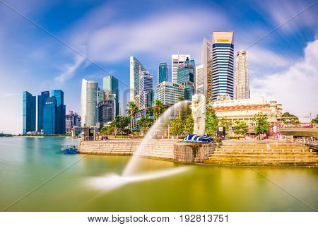 SINGAPORE - SEPTEMBER 3, 2015: The Merlion fountain at Marina Bay. The merlion is a marketing icon used as a mascot and national personification of Singapore.