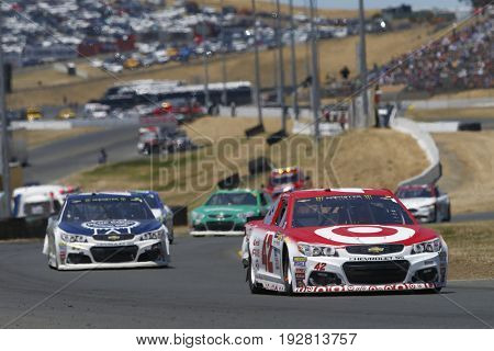 June 25, 2017 - Sonoma, CA, USA: Kyle Larson (42) battles for position during the Toyota/Save Mart 350 at Sonoma Raceway in Sonoma, CA.