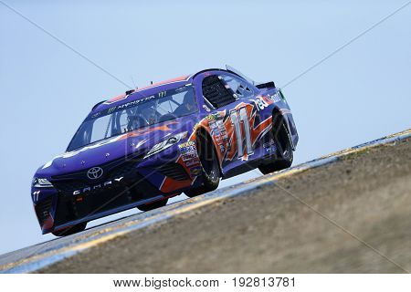 June 23, 2017 - Sonoma, CA, USA: Denny Hamlin (11) takes to the track to practice for the Toyota/Save Mart 350 at Sonoma Raceway in Sonoma, CA.