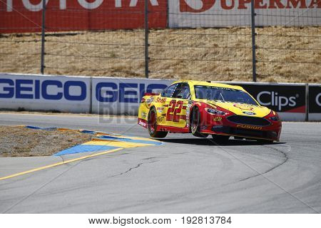 June 23, 2017 - Sonoma, CA, USA: Joey Logano (22) takes to the track to practice for the Toyota/Save Mart 350 at Sonoma Raceway in Sonoma, CA.