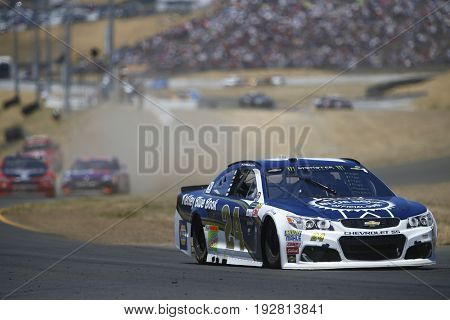June 25, 2017 - Sonoma, CA, USA: Chase Elliott (24) battles for position during the Toyota/Save Mart 350 at Sonoma Raceway in Sonoma, CA.