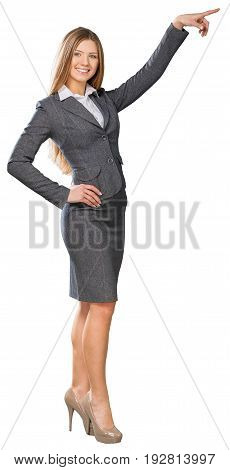 Business young portrait woman businesswoman gestures back view