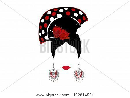 Portrait of modern Mexican or Spanish woman whit Craft accessories and red pois , beauty concept, logo Vector illustration