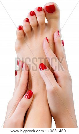 Hands foot pedicure cure red background shape
