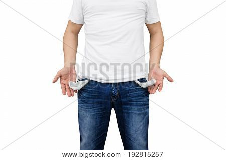 Man showing his empty pockets on white background.