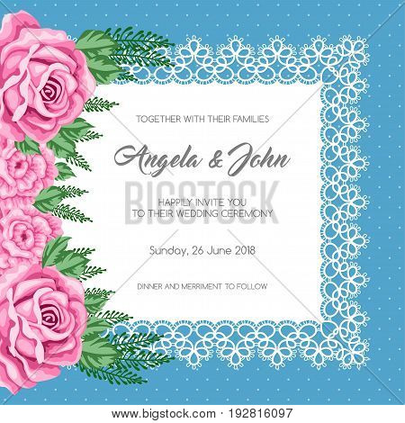 Wedding invitation template with flowers. Vector Illustration in retro style