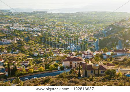 Cyprus island, top view. Many Houses roofs