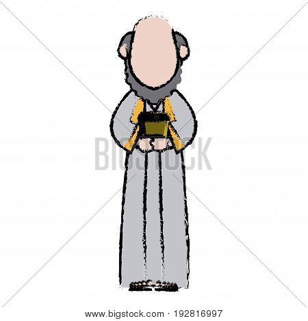 cartoon man king of orient manger nativity vector illustration