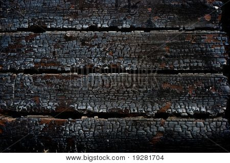 Burned wooden wall