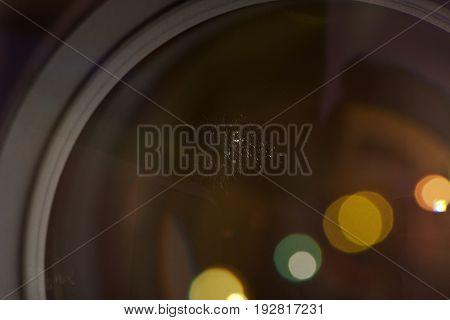 Macro of fungus on glass lens. Close-up of optical fungus disease