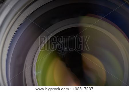 Growing fungus infection on glass. Optical dust on photography lens