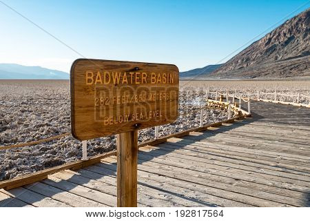 Sign at Badwater Basin in Death Valley National Park