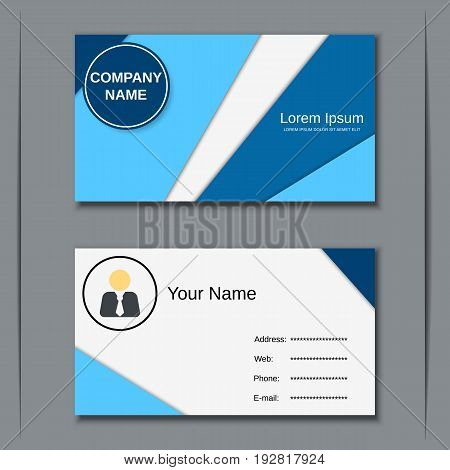 Business visiting card vector design template with blue geometric elements