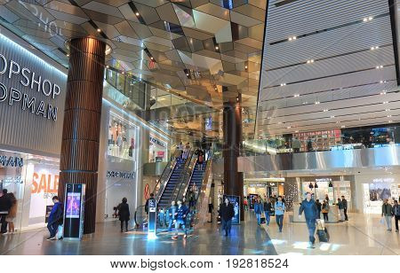 MELBOURNE AUSTRALIA - JUNE 14, 2017: Unidentified people visit Emporium Melbourne. Emporium is a 7 story shopping mall opened in the CBD in April 2014.