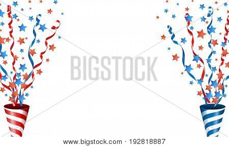 Exploding party popper with stars confetti and streamer Vector