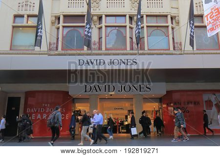 MELBOURNE AUSTRALIA - JUNE 14, 2017: Unidentified people visit David Jones department store in downtown Melbourne. David Jones was founded in 1838 and is a high-end Australian department store chain.