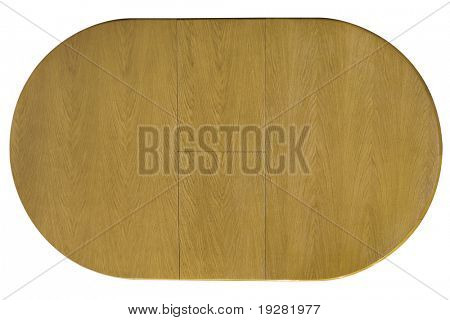 Top view of wooden table isolated