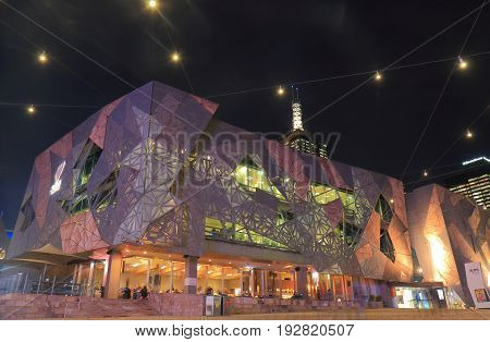 MELBOURNE AUSTRALIA - JUNE 14, 2017: Unidentified people visit Federation Square in Melbourne.