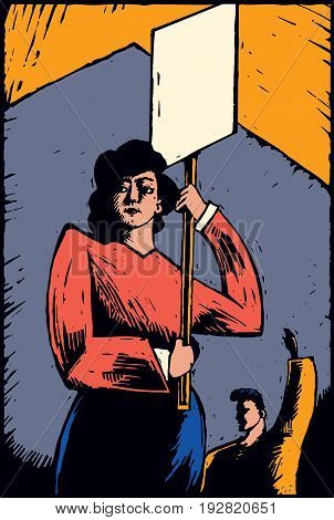 Strikers or protestors holding a sign. Image is created in a rustic color woodcut style.