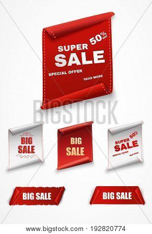 Super Sale Banner Ribbon. Vector Illustration.red scroll