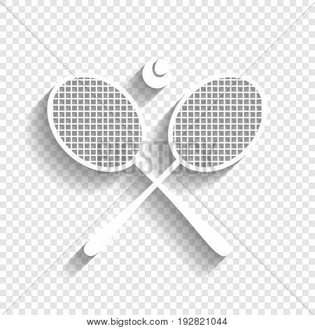 Two tennis racket with ball sign. Vector. White icon with soft shadow on transparent background.