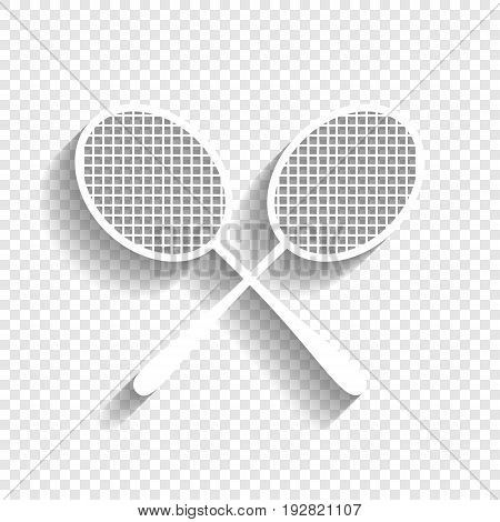 Two tennis racket sign. Vector. White icon with soft shadow on transparent background.