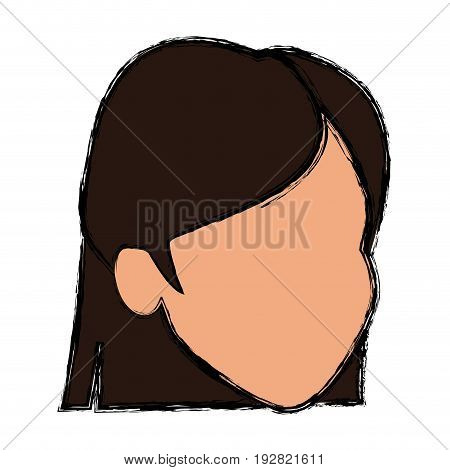 face female character hair default image vector illustration
