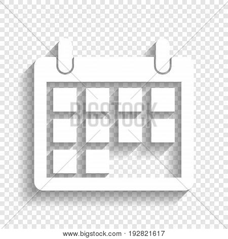 Calendar sign illustration. Vector. White icon with soft shadow on transparent background.