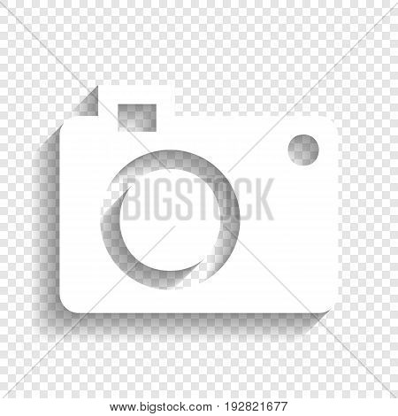 Digital camera sign. Vector. White icon with soft shadow on transparent background.