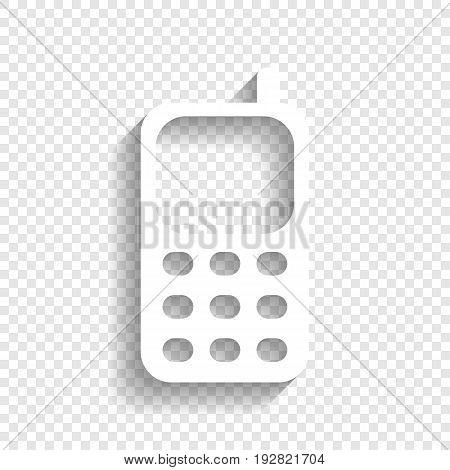 Cell Phone sign. Vector. White icon with soft shadow on transparent background.