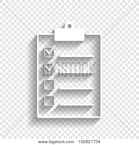 Checklist sign illustration. Vector. White icon with soft shadow on transparent background.